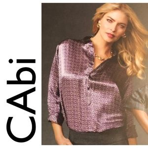 VINTAGE CAbi Printed Silk Tunic Blouse Purple Grey